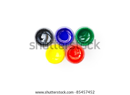 Colorful paint buckets  on white background