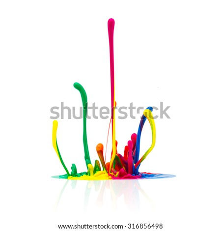 Colorful paint splash isolated on white background - stock photo