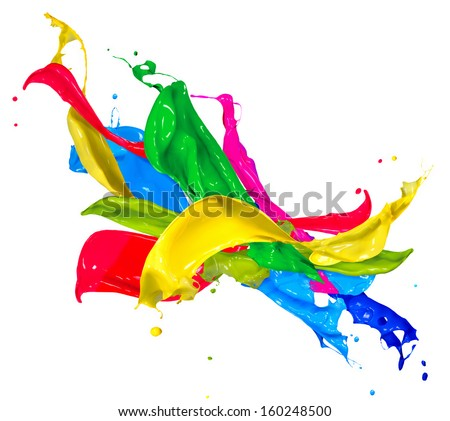 Colorful Paint Splash Isolated On White Stock Photo Edit Now