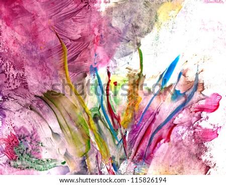 Colorful paint splashing - stock photo