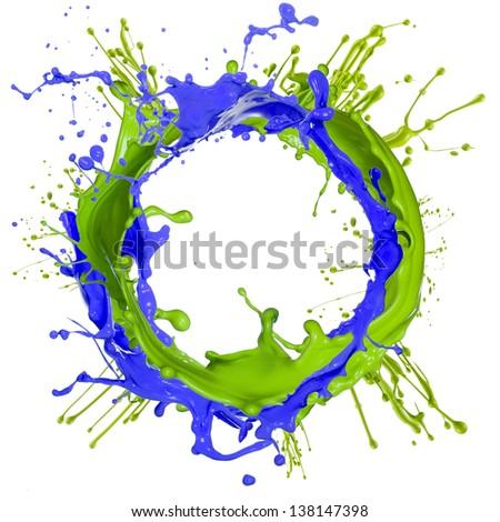 Colorful paint splashing isolated on white - stock photo