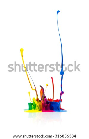 Colorful paint splashing isolated on white background