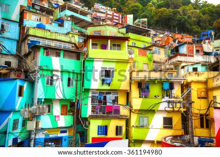 Colorful painted buildings of Favela  in Rio de Janeiro Brazil