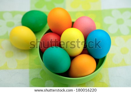 Colorful/ painted Easter eggs. Easter still life