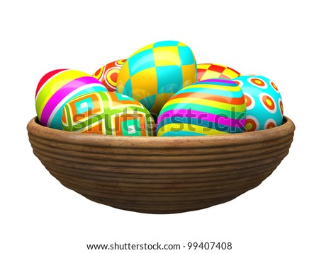 Colorful painted easter eggs in wood plate 3D - stock photo
