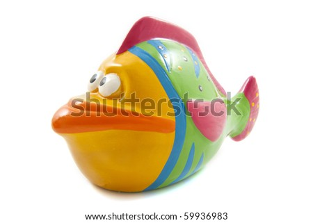 Colorful painted girl fish isolated over white