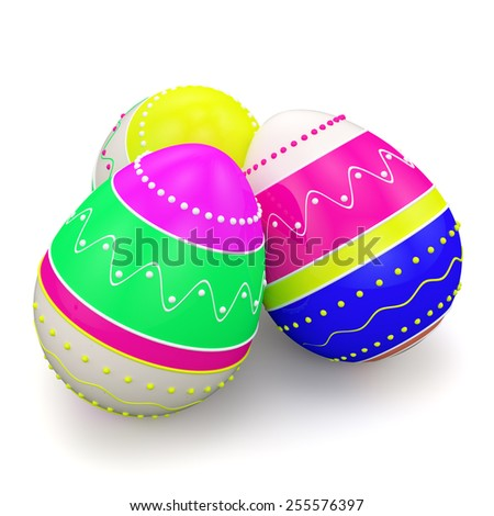 Colorful painted in neon colors modern easter eggs. Isolated on white background