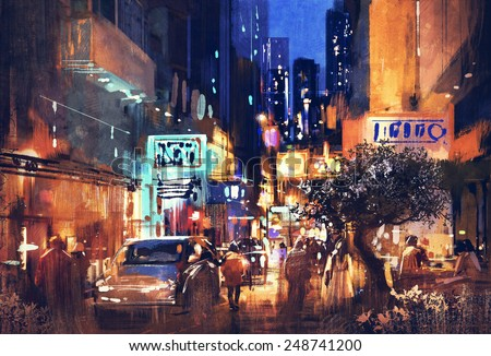 colorful painting of night street.illustration - stock photo
