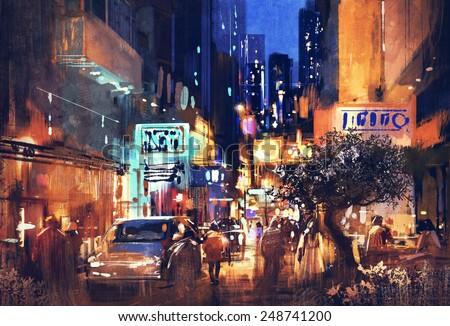 Colorful Painting Of Night Street,illustration Art