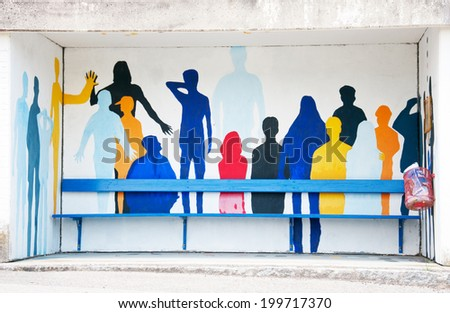 colorful painting on a bus station