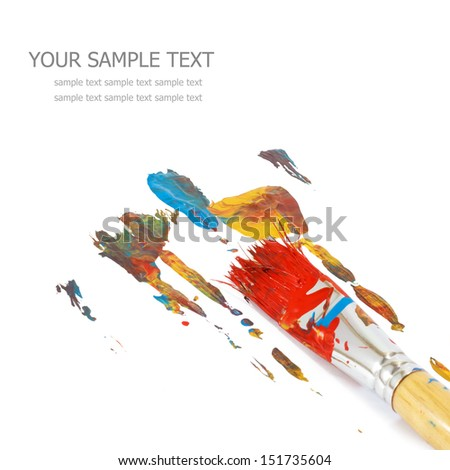Colorful paints and artist brush - stock photo