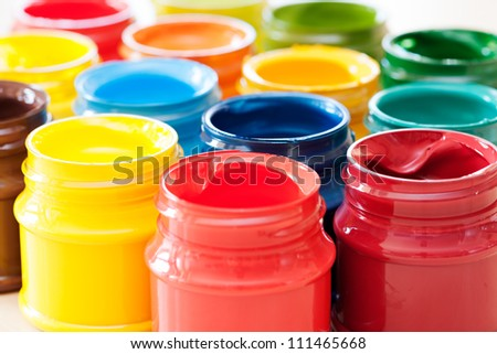 Colorful paints bottles - stock photo