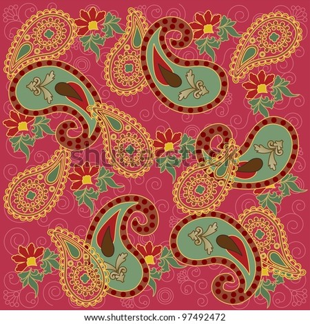Colorful Paisley in Pink Background
