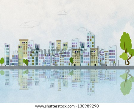 Colorful panorama city  background - stock photo