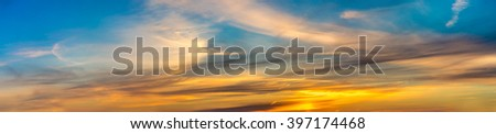 Colorful panorama sky during sunrise and sunset in a summer morning - stock photo