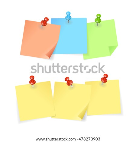 Colorful Paper and Pin Set Isolated on White Background. illustration