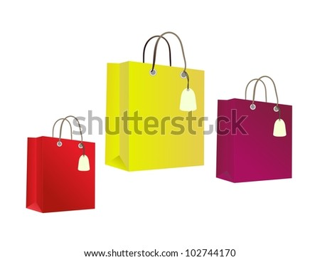 Colorful paper bag collection with tags isolated on white background