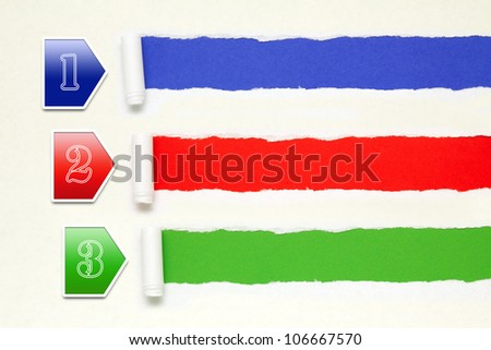Colorful paper banners background with white torn paper edge - stock photo