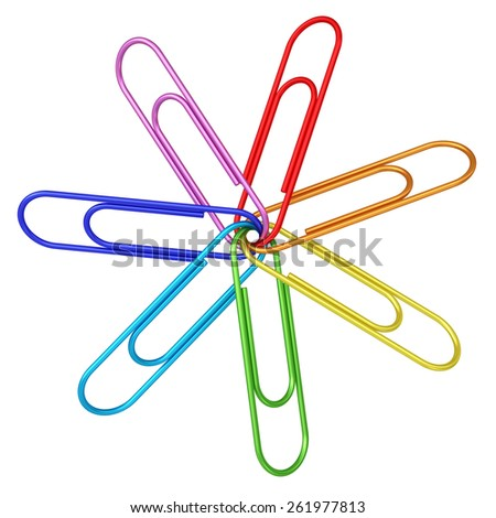 Colorful paper clips chained together on white background. High resolution 3D image