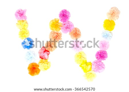 Colorful paper craft work of flowers as alphabet - stock photo