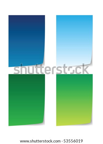 colorful paper for message, blue and green
