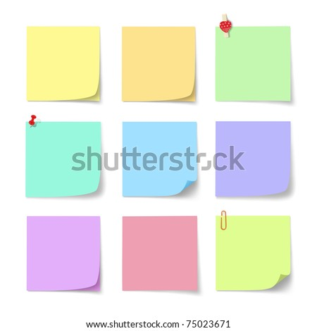 colorful paper note on white background - stock photo