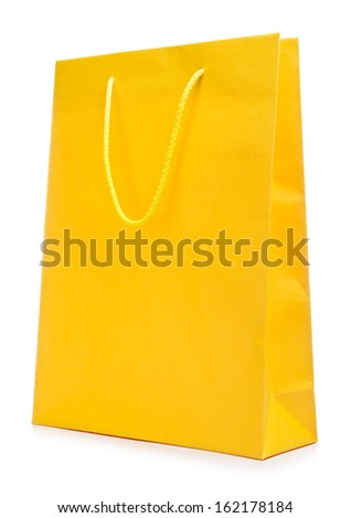 colorful paper shopping bag, isolated on white - stock photo