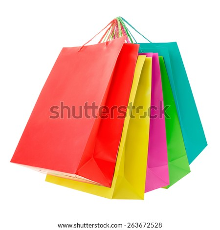 Colorful paper shopping bags group isolated on white, clipping path included - stock photo