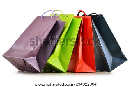 Colorful paper shopping bags isolated on white background. - stock photo