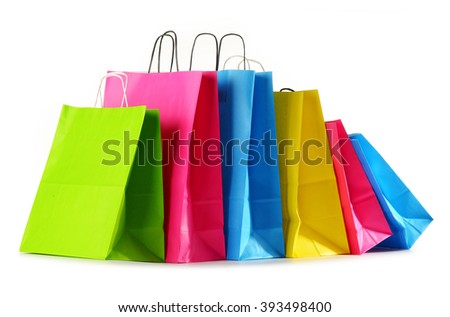 Colorful paper shopping bags isolated on white background - stock photo