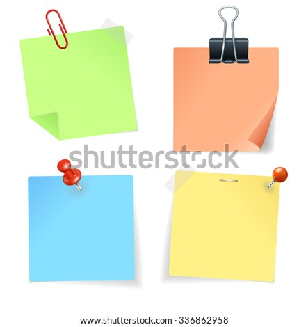 Colorful Paper Sticker and Pin. illustration - stock photo