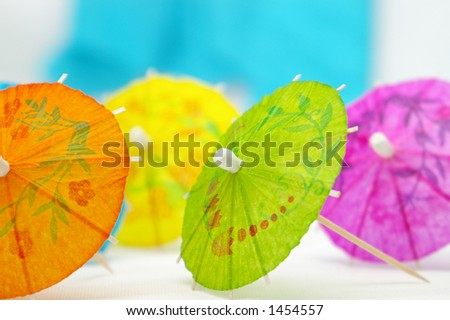 Colorful paper umbrellas. - stock photo