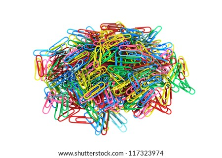 Colorful paperclips in big pile isolated on white