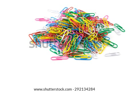 Colorful paperclips isolated on white background - stock photo
