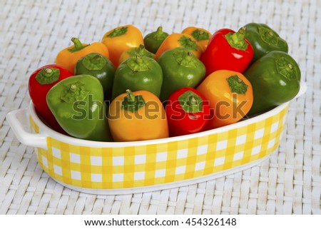Colorful paprica in a beautiful bowl - stock photo