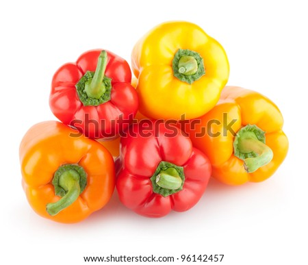 colorful paprika peppers isolated on white background