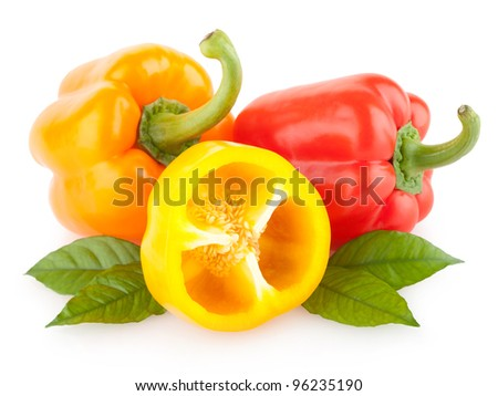 colorful paprika peppers isolated on white background - stock photo