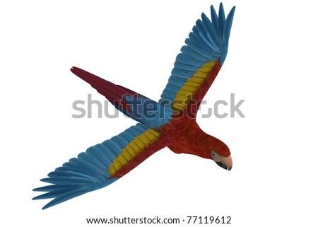 colorful parrot macaw in flight - stock photo