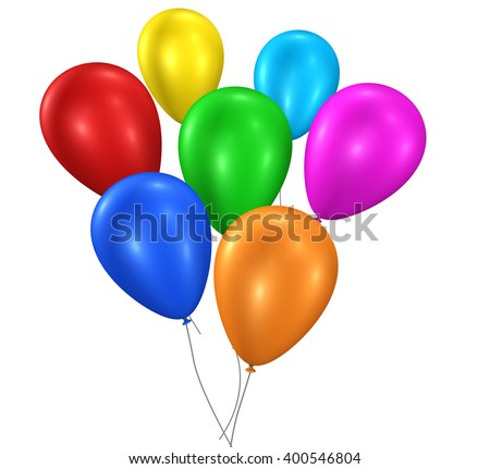 Colorful party and birthday floating balloons for anniversary and holiday decoration 3D illustration isolated on white background.