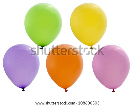 colorful party balloons isolated on white background