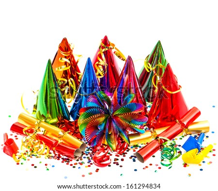 colorful party, carnival, birthday, new years decoration on white background - stock photo
