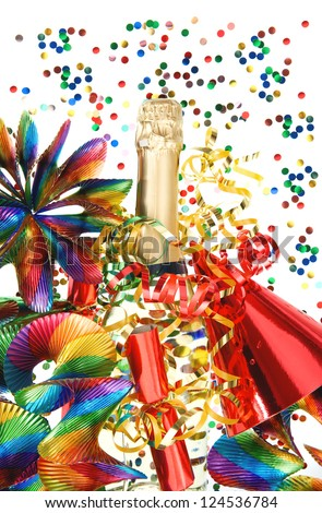 colorful party decoration with garlands, streamer, cracker, confetti and wine bottle. holidays background - stock photo