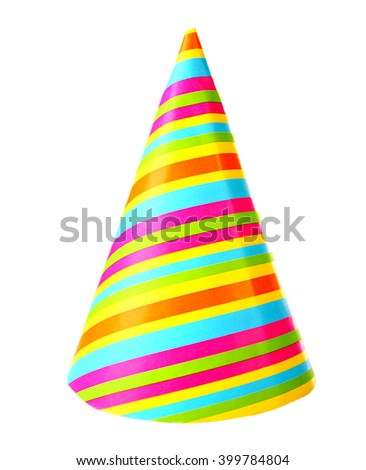 Colorful party hat, isolated on white - stock photo