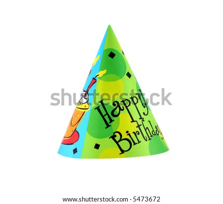Colorful party hat with decorative Happy Birthday - stock photo