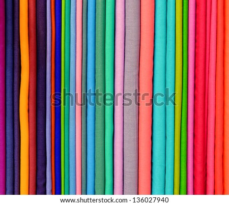Colorful pashminas in a shop