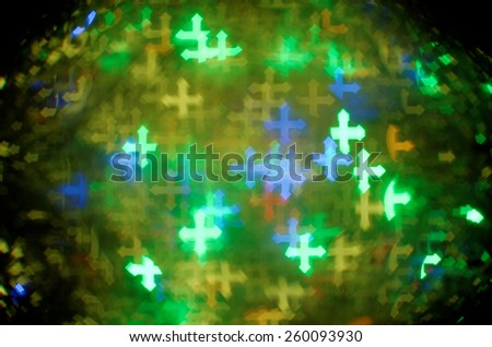 colorful passion cross bokeh background - stock photo