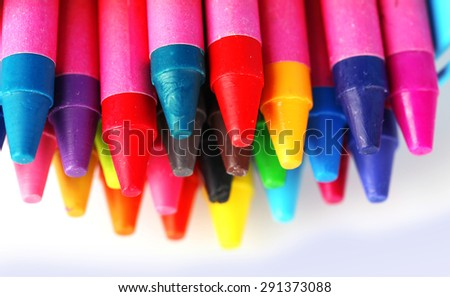 Colorful pastel crayons isolated on white - stock photo