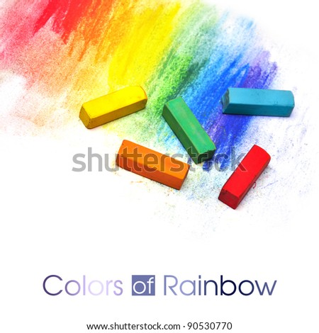 colorful pastel sticks texture over white - stock photo