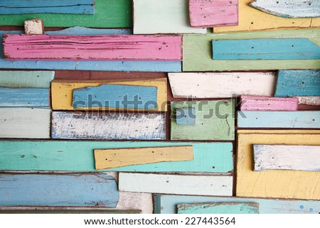 colorful pastel wooden texture - stock photo