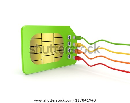 Colorful patchcords connected to SIM card.Isolated on white background.3d rendered. - stock photo